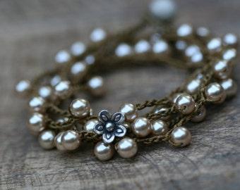 Boho Artisan Knotted Bracelet - acrylic thread . boho pearls Czech glass . pearls bracelet . tribal boho 70's festive . two in one . boho