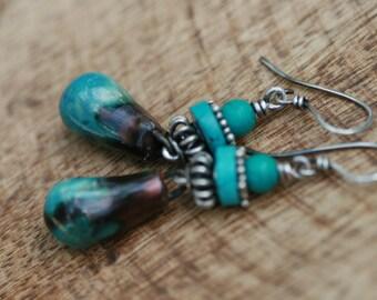 Rustic Bohemian Blue Artisan Ceramic ' Sovereign Blue ' earrings  n191- Metal . Earthy . Artisan Porcelain . Folk Ethnic Sterling Silver
