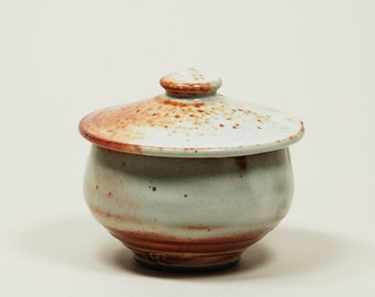 Shino glazed sugar bowl