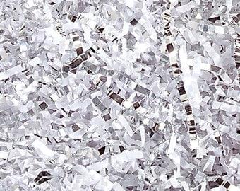 Crinkle Cut Paper Shred- Basket Filler- White/Silver Metallic Mix