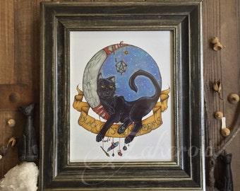 PRINT Black Cats & Moonbeams