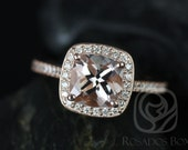 Hollie 7mm 14kt Rose Gold Cushion Morganite and Diamond Halo Engagement Ring (Other metals and stone options available)