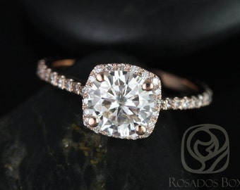 Samina 7mm 14kt  Rose Gold Round F1- Moissanite and Diamonds Cushion Halo Engagement Ring (Other metals and stone options available)