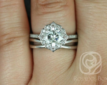 Rosados Box Rori 7mm & PLAIN Skinny Lima 14kt White Gold Cushion F1- Moissanite and Diamond Halo WITHOUT Milgrain Wedding Set