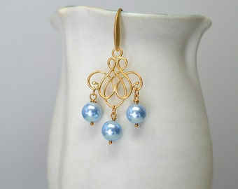 Swirl earrings Gold filigree earrings Serenity blue bead dangle earrings Gold chandelier earrings Pearl drop earrings Summer jewelry