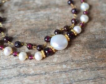 Elegant pearl garnet bracelet Genuine garnet gemstone bracelet Multi layer pearl bracelet January birthstone jewelry Beaded luxury jewelry
