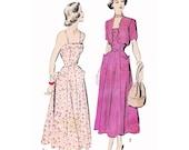 "RARE 1949 Sundress & Scalloped Edge Bolero, 8-gore Flare Skirt, Fitted Princess Seam Bodice, Petal Pocket, Unprinted Advance 5180, Bust 42"""