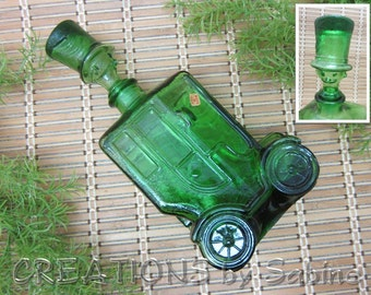 Green Glass Car Decanter Bottle Person Head Top Hat Stopper Depose Italy ES Bessi 66 Automobile 60s Barware Vintage FREE SHIPPING (438)