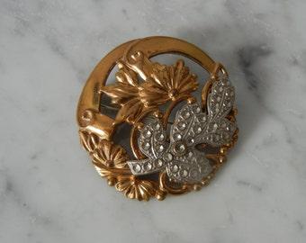 Vintage Brooch, 1950s Brooch, Vintage Round Pin, Round Brooch, Gold Brooch, Silver Brooch, Metal Round Brooch, Leaf and Vine Pin, 50s Pin