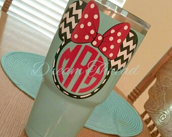 Minnie Mouse chevron monogram Decal, Disney, laptop Decal, yeti decal, car Decal, girly (made to order)