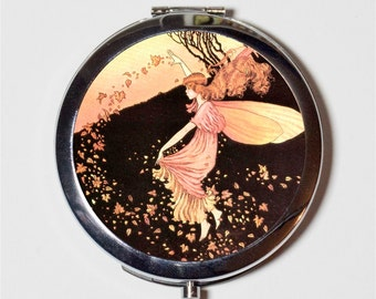 Fairy with Leaves Compact Mirror - Autumn Storybook Fairy Tale Fairytale - Make Up Pocket Mirror for Cosmetics