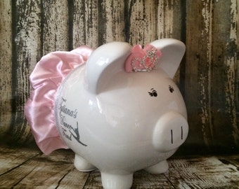 LARGE Personalized piggy bank girl, Dancer bank, Dance fund piggy, Ballet bank, piggy bank with crown, light blue bow and tutu, piggy bank,,