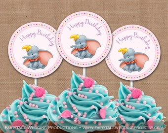 Dumbo the Elephant Themed Birthday Pink Chevron Cupcake Toppers Thank You Favor Tags Party Decor - DIY Digital Printables