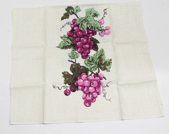 NOS Vintage Tea Towel, Grapes Motif in Shades of Purple and Green, Made in Poland, Coordinates with Our Tablecloth, See Below, Table Linens