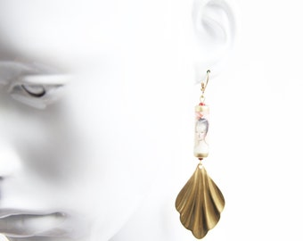 Marie Antoinette Fan Earrings with Handmade Paper Beads and Brass Stampings
