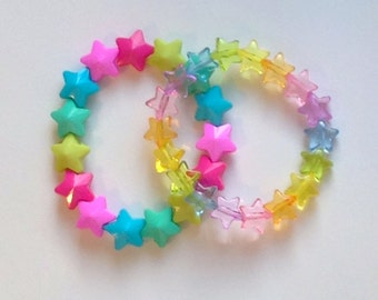 Rainbow Star Stretch Bracelets - Bright and Pastel - Set of 2
