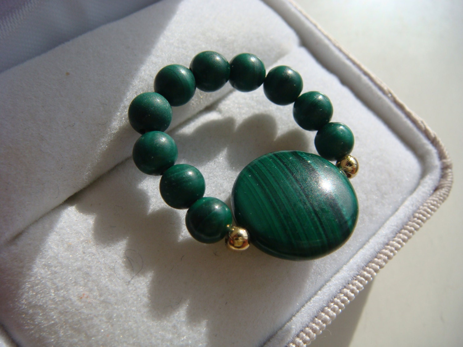 Green Lace Agate Bead Ring