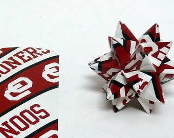 Small Origami Star Made From Licensed Oklahoma Sooners Paper, Oklahoma Decoration, Christmas Ornament