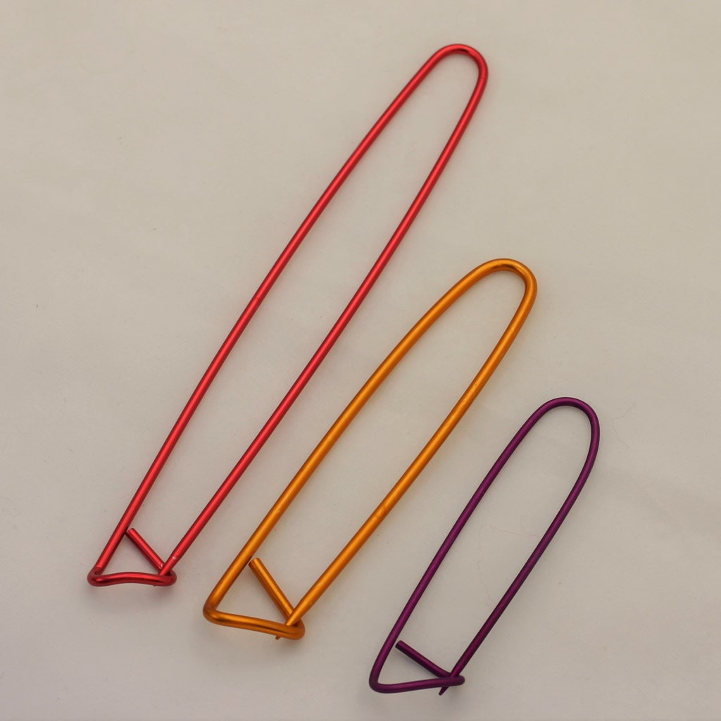 Small Knitting Stitch Holders : 3 Aluminum Stitch Holders-Knitting Tool-Cable by CupidFalls