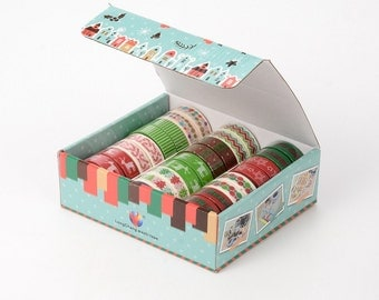 Christmas Theme DIY Scrapbbok Japanese Paper Adhesive Tape,  mixed lot, 5m/roll, 24rolls/box, 15mm