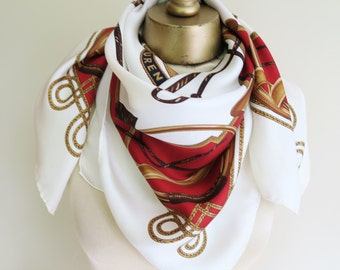 1980s silk scarf LAUREN, equestrian silk scarf, 80s fashion, large sqaure scarf, large silk scarf, elegant scarf, vintage silk scarf