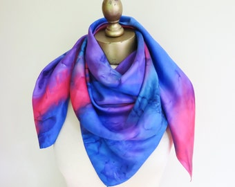 Hand painted scarf, hippie scarf, boho vintage scarf, gypsy scarves, vintage scarves, made in Canada, large silk scarf, large square scarf