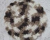 Crocheted Dishcloth Round Cotton Dish Cloth Tan Brown White Dish Rag