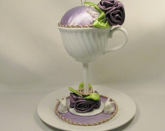 Teacup Pin Cushion Atop a Long Stem and Saucer in Lavender and Purple for Easter