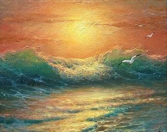 "Evening Surf,  6""x 6"" original oil painting"