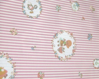 Sunbonnet Pink  Cotton Fabric, Fabric By The Yard, Cotton fabric, Quilt Fabric, Japanese Cotton Fabric, Tea Time  Fabric, Stripes Fabric