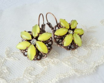 Yellow Earrings in Vintage Style. Rhinestone Jewelry. Yellow Vintage Style Rhinestone Earrings. Gift for Wife