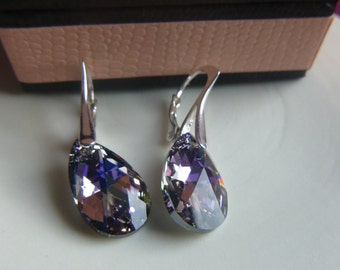 Lilac Pearl Drop Earrings Made With Swarovski Crystals