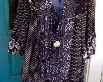 LONG KIMONO JACKET, Lagenlook Style, Black/Slate Blue Rayon Fabrics, Silver Shell, Reincarnated Threads, Cotton Batik Lining, Filmy Hem