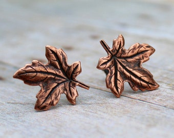 Antique Copper Maple Leaf post earrings