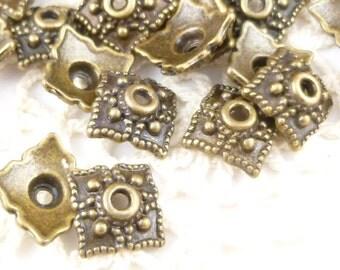 8mm Antiqued Bronze Ornate Square Bead Cap (20) - BF3
