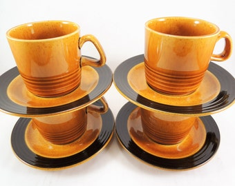 Mid Century Coffee Cups and Saucers, Vintage Coffee Set, Gold Speckled Glaze, Brown Trim, Set of 4, Cup and Saucer Set, Coffee Mug Set, Tea