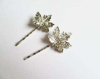 Silver Maple leaf bobby pins, woodland hairclip, wedding hair accessories, bridal hairclip, nature,  woodland hair accessory