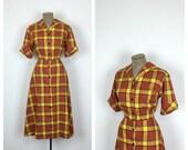 50s Shirtwaist Plaid Cotton Day Dress • 1950s Large Fit and Flare Dress • XL Vintage Shirt Waist Dress • Short Sleeve
