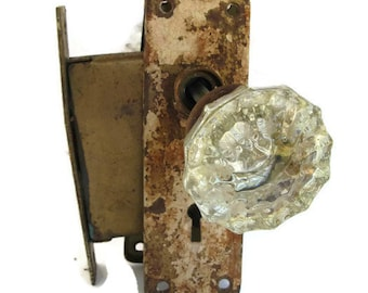 antique door knob doorknob crystal knobs,with chippy escutcheons and rusty mortise lock,