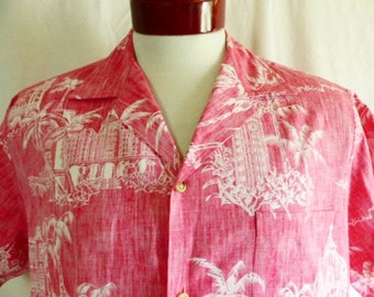 aloha vintage 70's 80's Cooke Street Honolulu bright red hawaiian shirt white palm tree iolani palace historic building reverse print Large