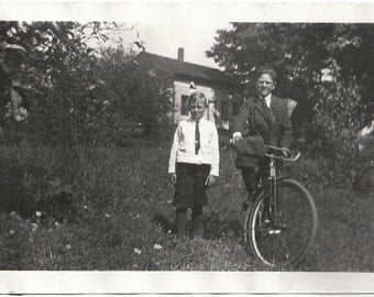 Old Photo Boys with Bicycle Outside 1920s Photograph snapshot vintage Bike