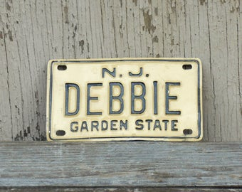Debbie NJ Bicycle License Plate, 70's New Jersey Kid's Bike Vanity Tag