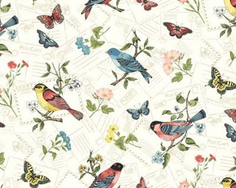 Fat Quarter Vintage Journal Birds 100% Cotton Quilting Fabric Makower