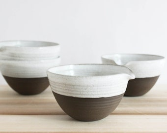 Ceramic pour bowl, dipped pottery bowl, minimal brown and white pottery