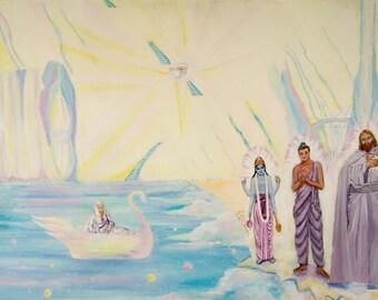 GICLEE PRINT Buddha, Jesus and Vishnu Art Print (Celestial Shores)