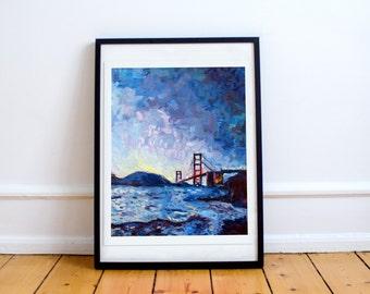 Golden Gate Bridge Nov 2015- Print of an original painting