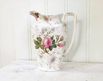 Crown Ducal Ware Pitcher - Vintage Rose Floral Pitcher - A G R & Co England - Beige Blue Flowers