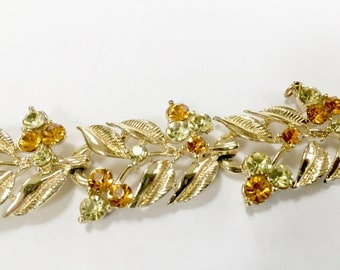Vintage CORO BRACELET Multi Colored Stones - Gold Tone - Amber Colored Stones - Leaf Design - Interlocking Leaf Links