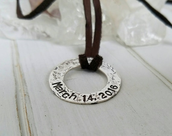 Unisex, Distressed, Rustic, Sterling Silver, Personalized Fathers necklace, Hammered Washer, Custom Name Necklace, Daddy necklace, Leather