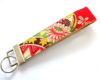 Leather Wristlet Key Fob - Red